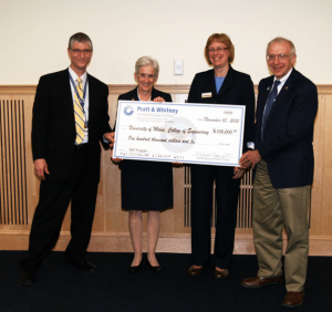 Presentation of $100,000 Gift to the Mechanical Engineering Technology Program (L-R): Michael Papp, Susan Hunter, Karen Horton, Dana Humphrey