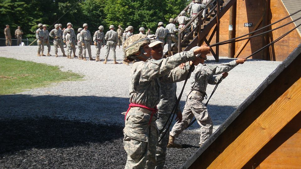 Cadet Jenny Dalrymple takes on the 64-foot rappel tower at Cadet Summer Training Advanced Camp at Ft. Knox, Kentucky